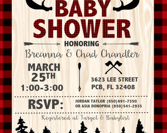 Lumberjack Baby Shower Invites