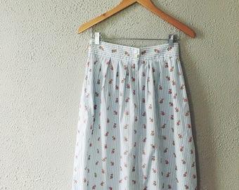 Striped Floral Print Midi Skirt