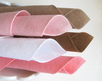 Wool Felt Set, Pink and Brown, Pure Wool Felt, DIY Craft Supply, Pastel Felt, Baby Colors, DMC Floss, Wool Stuffing, Doll Making, Applique