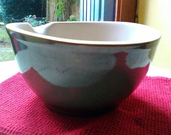 Lovely glazed  earthenware mortar - vintage Portuguese bowl