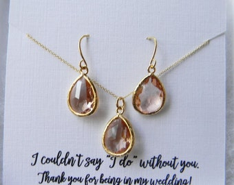 Champagne Blush Earrings and Necklace Set / Peach and Gold Earrings / Champagne Bridesmaid Jewelry / Peach Necklace / Bridesmaid Gift