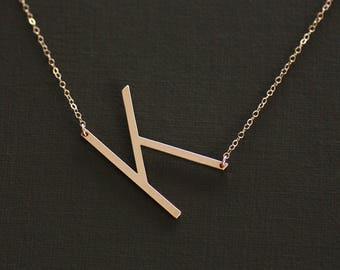 Sideways Letter Necklace, Rose Gold Large Letter Necklace