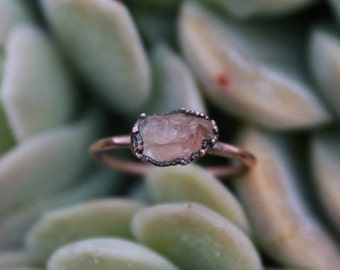 Sunstone | Dainty Sunstone Ring | Raw Sunstone | Sunstone Ring | Peachy Sunstone | Raw Mineral Ring | Copper Ring | Ready-To-Ship
