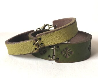 Olive Green Cuff, Santa Fe Style Inspired Jewelry, Artisanal Clay Accesory, This is not Leather, Rustic Handmade Bracelet, Boho Jewelry