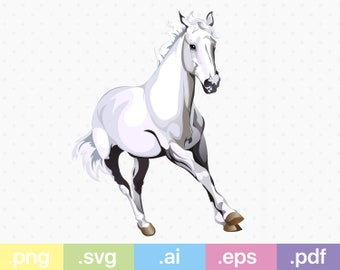 Realistic white horse svg. Files included: .png/.svg/.ai/.eps./.pdf Instant download. Vector files