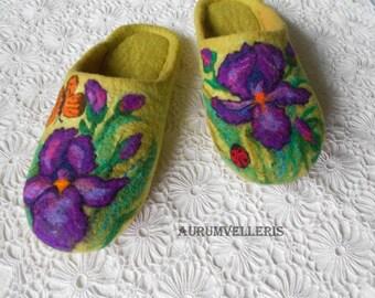 Women's Slippers Felted Slippers Felt Flowers Iris Boiled Wool Slippers Felt Organic Handmade slippers  Wool Clogs House shoes Gift for her