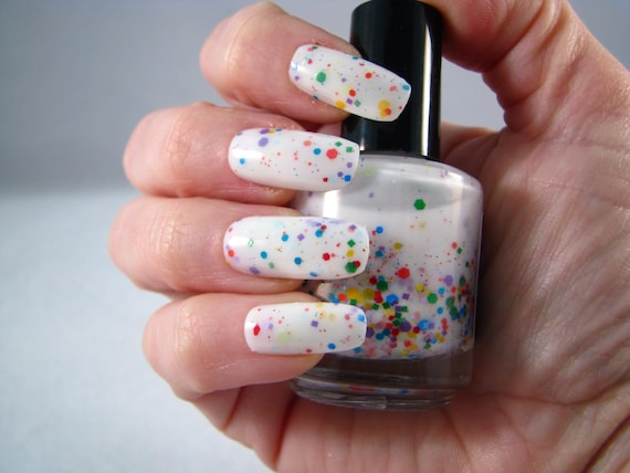 Galactose Intolerance white and rainbow glitter nail polish by Comet Vomit