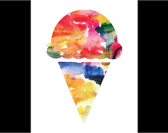 Watercolor Ice Cream Print