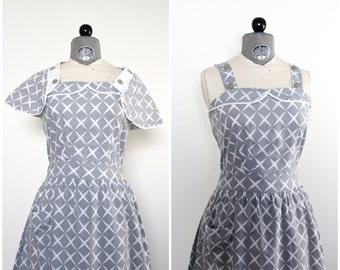 1940s Dress • 40s Dress • Vintage 1940s Dress • Vintage 40s Dress • 40s Sundress • Gray Print Dress and Cape • 40s Dress and Bolero Set