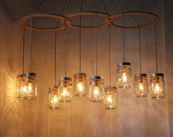 Mason Jar Chandelier Lighting Fixture, Large Rustic Mason Jar Pendant Lamp, 10 Jars, BootsNGus Lighting and Home Decor, Bulbs Included