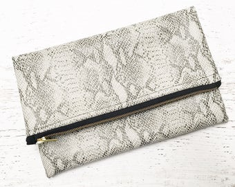 Black & White Snake Print Faux Leather Foldover Clutch - Gift for her, Birthday, Anniversary, Bridesmaid