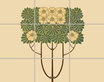 Arts Crafts Flower Tree Decorative Tile Mural Ceramic Back Splash Artistic Kitchen Bath