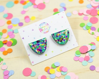 Mint Madness Confetti Statement Stud Earrings
