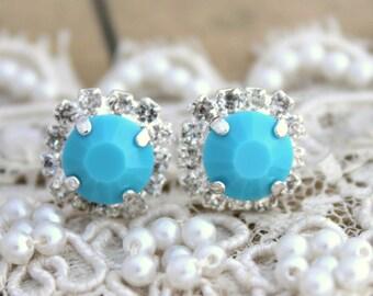 Turquoise Silver stud earrings,Bridal jewelry,Silver earrings, halo earrings - Silver plated  post earrings real swarovski rhinestones .