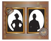 Cameos Printable Wedding Centerpieces Steampunk Gold Framed Black White Female Male Silhouette Bowler Hat Oval Victorian Lady Gown Derby