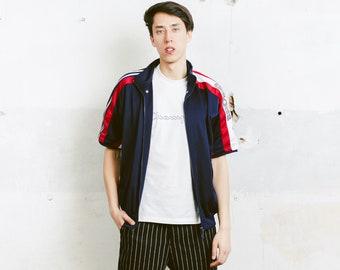 Men Adidas Track Jacket . Vintage Short Sleeve Blue Adidas Jacket Jogging Wear Active Wear Boyfriend Gift Athleisure . size Medium