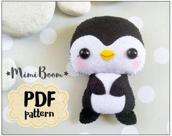 Felt penguin pattern PDF tutorial penguin plush sewing tutorial penguin DIY felt ornament penguin Sewing tutorial felt penguin baby mobile