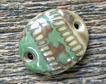 Ceramic Bracelet, Ceramic Bar, Ceramic Pendant, Ceramic Oval, Bracelet Component, Green Pendant, Jewelry Focal, Bracelet Bar