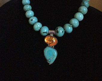 Turquoise & Amber Pendant Necklace