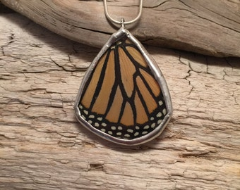 Real Butterfly Wing Necklace, monarch Pendant, real butterly jewelry, butterfly, handmade butterfly necklace