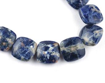 10 Inch 14mm Natural Sodalite Smooth Cushion Shape Beads Strand-Cushion Beads 18 Beads (4391-92)