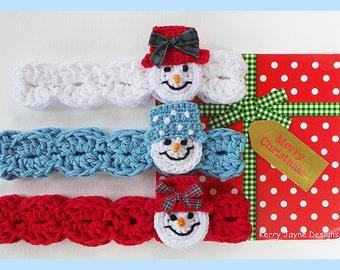 CROCHET HEADBAND PATTERN Snowman headband pattern Christmas crochet pattern 8 sizes Crochet snowman pattern Baby headband pattern Usa - No1A