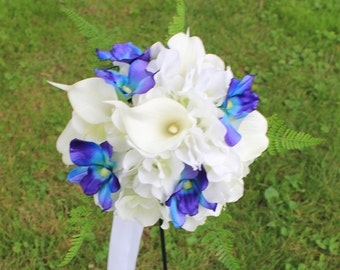 Bridesmaids Bouquet Hydrangea, Calla lily,and Dendrobium orchids in white with Galaxy orchids and real touch fern in violet blue and purple.