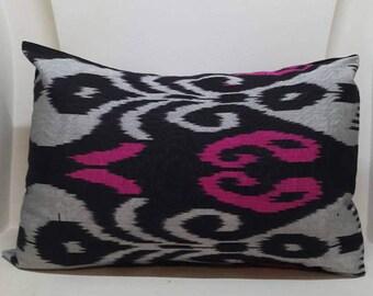 A Handwoven Ikat Silk Pillowcase from Uzbekistan.