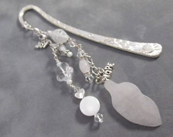 Hope and Joy Beaded Message Bookmark with White Quartz and Swarovski on Silver