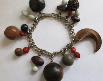 1960's Sea Bean dangle bracelet, Boho, Beachy
