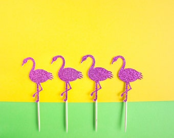 12 Flamingo Cupcake Toppers // Fiesta Decoration // Flamingo Party // Tropical Party // Fiesta // Summer Party // Luau Pool Party // Summer