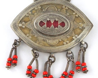 TURKMENISTAN - Vintage Tribal Silver Red Glass & Dangles Pendant