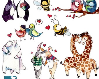 Watercolor Love Couples Clipart - Hand Drawn Animal couples -  card design, invitations, stickers, paper crafts - INSTANT DOWNLOAD