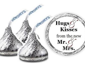 108 Wedding Hershey Kiss ~ Hugs & Kisses from the new Mr. and Mrs. ~ Candy Label Wrapper Favors Stickers