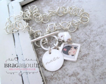 Photo Charm . Sterling Silver Bracelet . Hand Stamped Jewelry . Capture Collection . Brag About It