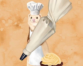 Ferret and Frosting art print // pigment print, archival, 11x14 // Ferret holding a pastry bag with a cupcake