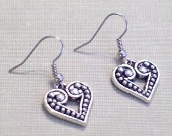 Antiqued Silver Heart Earrings, Beaded Hearts, Pierced Earrings