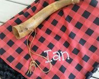 personalized minky blanket, buffalo plaid baby blanket, monogrammed baby blanket, red and black baby gift, shower gift