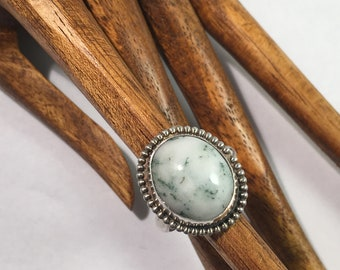 Green Tree Agate and Sterling Silver Ring