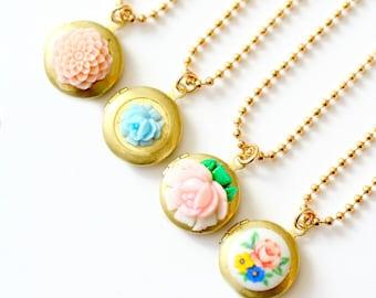 Girls Locket Necklace, Flower Girl Locket, Children Locket Necklace, Birthday Gift