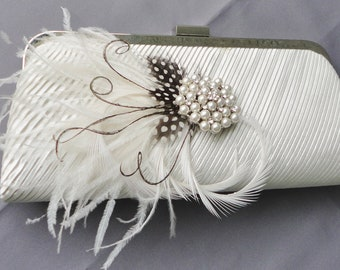 Wedding Formal Ivory Evening Clutch Adorned With Feathers And A Removable Rhinestone Brooch