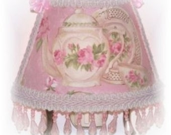 Teapot and Teacup Pink Cottage Roses Victorian Chic NIGHT LIGHT with Lt Pink Beading