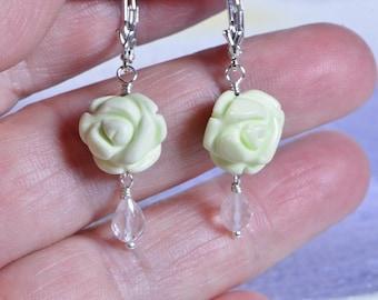 Lemon Chrysoprase Earrings Carved Stone Rose Floral Earrings Chrysoprase Jewelry Crystal Rose Quartz Earrings