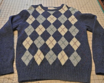 Highland Wool Sweater Argyle Blue Wool Sweater