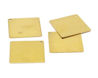 Brass Square Charm, 120 Raw Brass Square Stamping Charms, Pendants (20x20mm) A0061