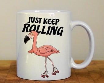 Flamingo mug, roller skating flamingo