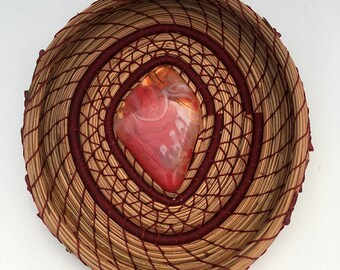 Pine Needle Basket Red Swirled Glass Center- Item 844 by Susan Ashley