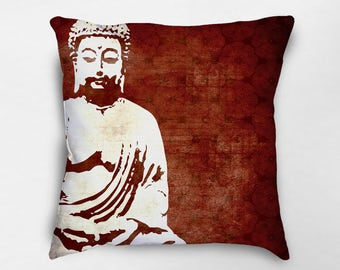 Buddha Pillow, Zen Pillow, Buddha Decor, Meditation Pillow, Zen Decor, Yoga Studio Decor, Buddhist Decor, Yoga Pillow, Dorm Decor