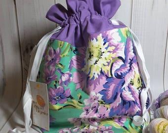 Medium Drawstring Project Bag- Purple Floral - Knitting- Crochet- Needlearts- Crafting- Artist