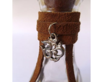 3.5 Inch Leather Decorated Glass Bottle with Charm and Cork